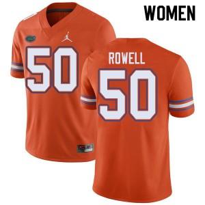 Jordan Brand Women #50 Tanner Rowell Florida Gators College Football Jerseys Orange 916590-861