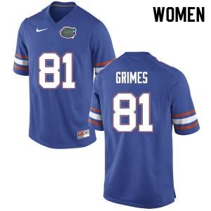 Women #81 Trevon Grimes Florida Gators College Football Jerseys Blue 402600-967