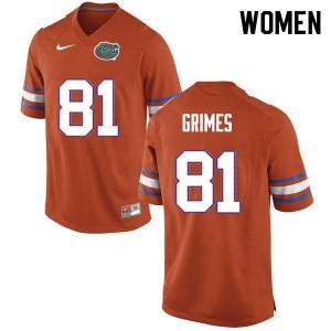 Women #81 Trevon Grimes Florida Gators College Football Jerseys Orange 170984-174