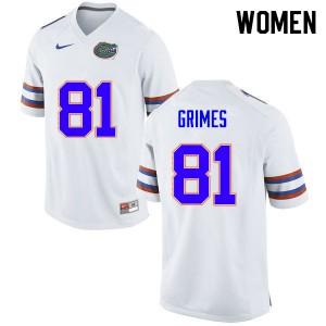 Women #81 Trevon Grimes Florida Gators College Football Jerseys White 388562-401