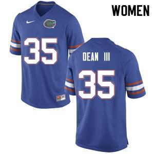 Women #35 Trey Dean III Florida Gators College Football Jerseys Blue 442229-573