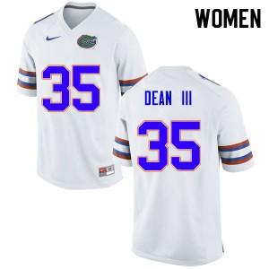 Women #35 Trey Dean III Florida Gators College Football Jerseys White 267409-322