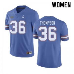 Jordan Brand Women #36 Trey Thompson Florida Gators College Football Jerseys Blue 690121-689