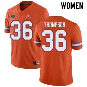 Jordan Brand Women #36 Trey Thompson Florida Gators College Football Jerseys Orange 218734-846
