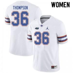 Jordan Brand Women #36 Trey Thompson Florida Gators College Football Jerseys White 577022-819
