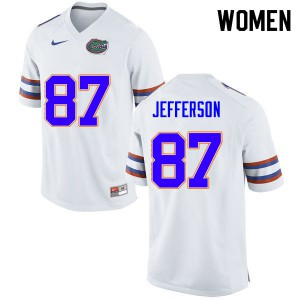 Women #87 Van Jefferson Florida Gators College Football Jerseys White 231317-878