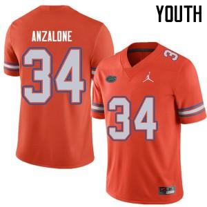 Jordan Brand Youth #34 Alex Anzalone Florida Gators College Football Jerseys Orange 774789-913