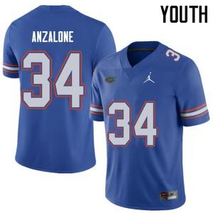 Jordan Brand Youth #34 Alex Anzalone Florida Gators College Football Jerseys Royal 131714-400