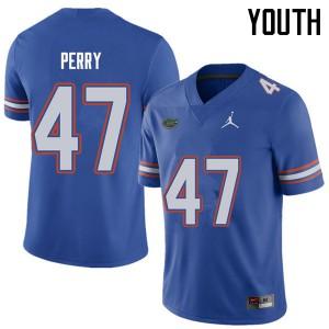 Jordan Brand Youth #47 Austin Perry Florida Gators College Football Jerseys Royal 847922-566