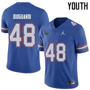 Jordan Brand Youth #48 Brett DioGuardi Florida Gators College Football Jerseys Royal 708856-771