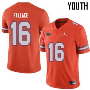 Jordan Brand Youth #16 Brian Fallace Florida Gators College Football Jerseys Orange 876031-648