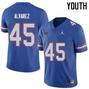 Jordan Brand Youth #45 Carlos Alvarez Florida Gators College Football Jerseys Royal 827786-895