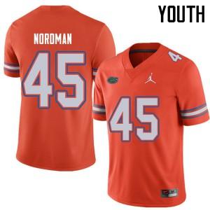 Jordan Brand Youth #45 Charles Nordman Florida Gators College Football Jerseys Orange 121169-598