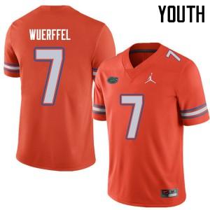 Jordan Brand Youth #7 Danny Wuerffel Florida Gators College Football Jerseys Orange 175183-419