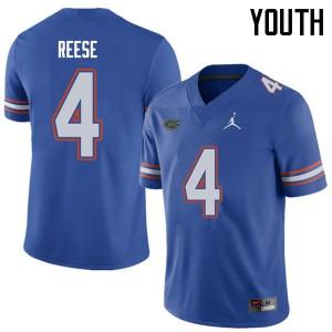 Jordan Brand Youth #4 David Reese Florida Gators College Football Jerseys Royal 969463-255