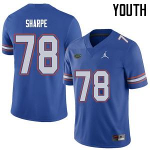 Jordan Brand Youth #78 David Sharpe Florida Gators College Football Jerseys Royal 212293-486