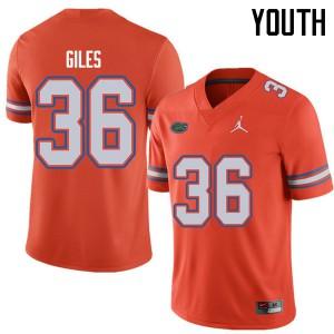 Jordan Brand Youth #36 Eddie Giles Florida Gators College Football Jerseys Orange 930900-171