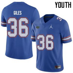Jordan Brand Youth #36 Eddie Giles Florida Gators College Football Jerseys Royal 204204-756