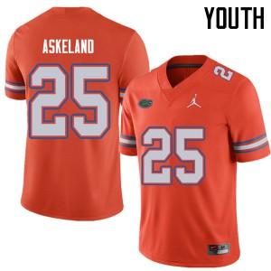 Jordan Brand Youth #25 Erik Askeland Florida Gators College Football Jerseys Orange 982086-637