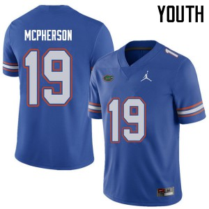 Jordan Brand Youth #19 Evan McPherson Florida Gators College Football Jerseys Royal 989226-630
