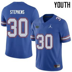 Jordan Brand Youth #30 Garrett Stephens Florida Gators College Football Jerseys Royal 319915-892