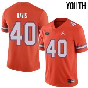 Jordan Brand Youth #40 Jarrad Davis Florida Gators College Football Jerseys Orange 727798-700