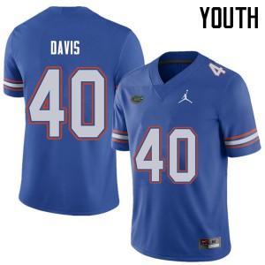 Jordan Brand Youth #40 Jarrad Davis Florida Gators College Football Jerseys Royal 832547-669