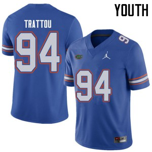 Jordan Brand Youth #94 Justin Trattou Florida Gators College Football Jerseys Royal 219315-718