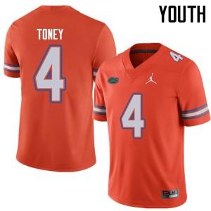 Jordan Brand Youth #4 Kadarius Toney Florida Gators College Football Jerseys Orange 976083-717