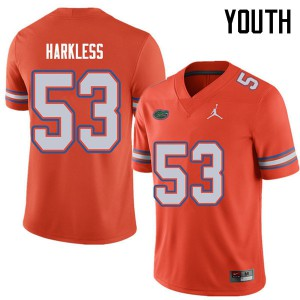 Jordan Brand Youth #53 Kavaris Harkless Florida Gators College Football Jerseys Orange 564869-465