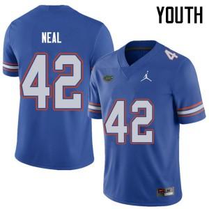 Jordan Brand Youth #42 Keanu Neal Florida Gators College Football Jerseys Royal 645615-749