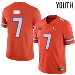 Jordan Brand Youth #7 Lucas Krull Florida Gators College Football Jerseys Orange 669427-356