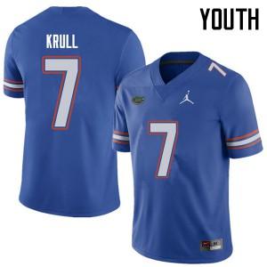 Jordan Brand Youth #7 Lucas Krull Florida Gators College Football Jerseys Royal 977139-488