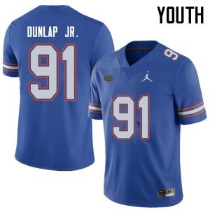 Jordan Brand Youth #91 Marlon Dunlap Jr. Florida Gators College Football Jerseys Royal 404589-625