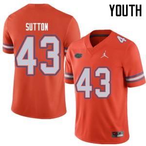 Jordan Brand Youth #43 Nicolas Sutton Florida Gators College Football Jerseys Orange 495643-389