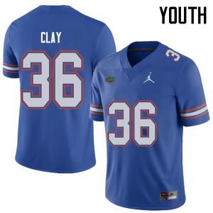 Jordan Brand Youth #36 Robert Clay Florida Gators College Football Jerseys Royal 620012-689