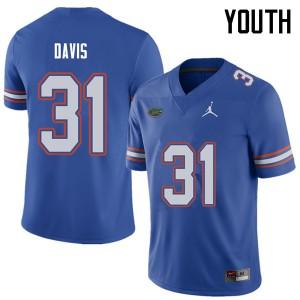 Jordan Brand Youth #31 Shawn Davis Florida Gators College Football Jerseys Royal 852725-774