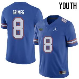 Jordan Brand Youth #8 Trevon Grimes Florida Gators College Football Jerseys Royal 412980-585