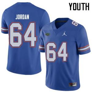 Jordan Brand Youth #64 Tyler Jordan Florida Gators College Football Jerseys Royal 929034-595
