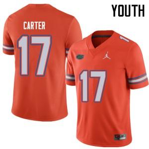 Jordan Brand Youth #17 Zachary Carter Florida Gators College Football Jerseys Orange 638665-535