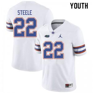 Jordan Brand Youth #22 Chris Steele Florida Gators College Football Jerseys White 810124-678