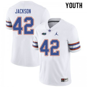 Jordan Brand Youth #42 Jaylin Jackson Florida Gators College Football Jerseys White 917715-561