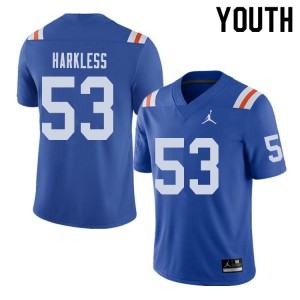 Jordan Brand Youth #53 Kavaris Harkless Florida Gators Throwback Alternate College Football Jerseys 843724-122
