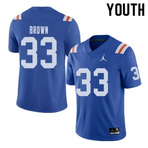 Jordan Brand Youth #33 Mack Brown Florida Gators Throwback Alternate College Football Jerseys Royal 242434-862