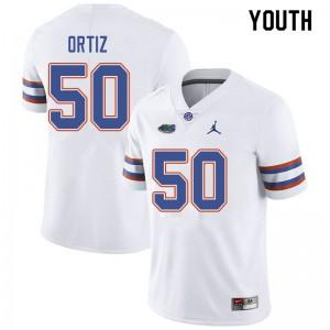 Jordan Brand Youth #50 Marco Ortiz Florida Gators College Football Jerseys White 927739-556