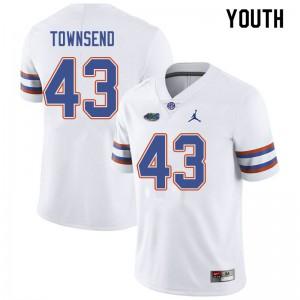 Jordan Brand Youth #43 Tommy Townsend Florida Gators College Football Jerseys White 230987-589