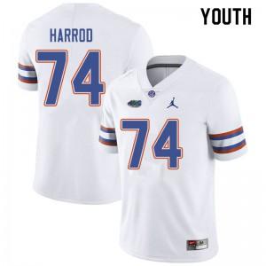 Jordan Brand Youth #74 Will Harrod Florida Gators College Football Jerseys White 309383-324