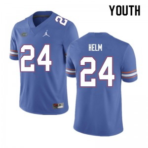 Youth #24 Avery Helm Florida Gators College Football Jerseys Blue 621062-555