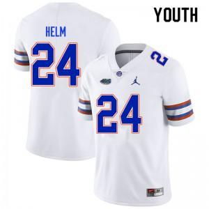 Youth #24 Avery Helm Florida Gators College Football Jerseys White 808055-568