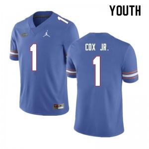 Youth #1 Brenton Cox Jr. Florida Gators College Football Jerseys Blue 677623-505